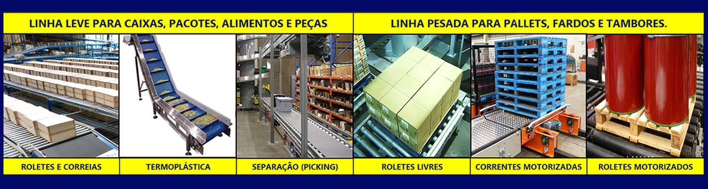 Linha leve para caixas, pacotes, alimentos, peças - linha pesada para pallets, fardos e tambores.
